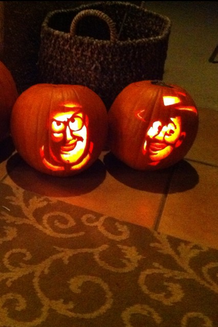 buzz lightyear and woody pumpkin carvings